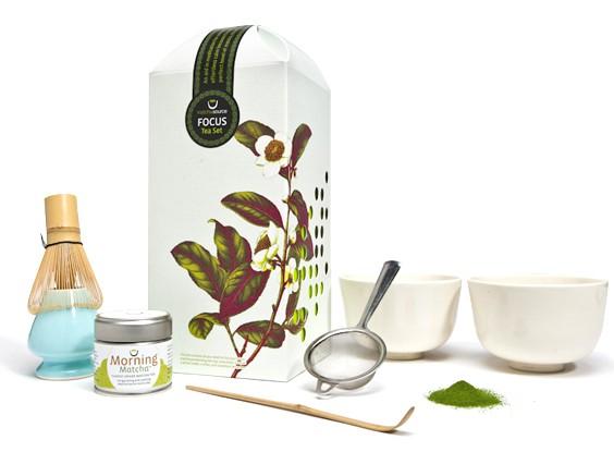 Matcha FOCUS Tea Set – With 2 Cherry Blossom Tea Bowls