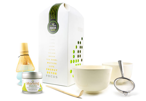 FOCUS Tea Gift Set - Complete Matcha Gift Set with 2 Bowls and Choice of Tea
