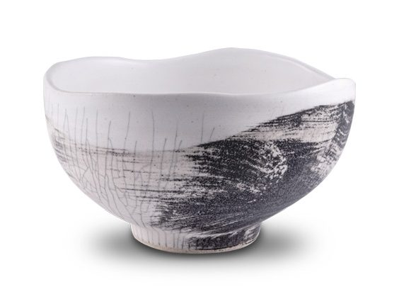 The Hayden Matcha Tea Bowl Wabi Style with White Crackle and Grafito SOLD OUT