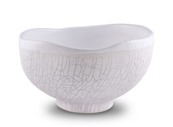 The Hayden Matcha Tea Bowl Wabi Style with White Crackle
